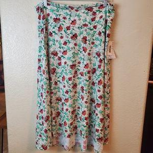 Lularoe Azure Floral Boho Midi Skirt XL